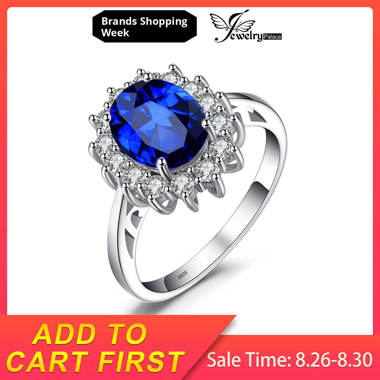 JewelryPalace 3.2ct Birthstone Created Blue Sapphire Princess Diana Halo Promise 925 Sterling Silver Ring Size 4-12 Fine Jewelry