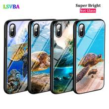 Black Cover Cute Sea Turtle for iPhone X XR XS Max 8 7 6 6S Plus 5S 5 SE Super Bright Glossy Phone Case