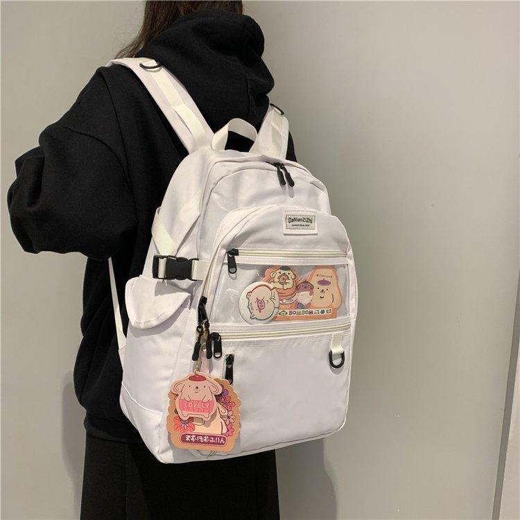 Black And White Canvas Backpack Women School Bag Teenage Girl Harajuku Backpack Cotton Female Fashion Bag Student Laptop Bag