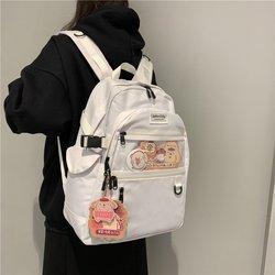 Noir et blanc toile sac à dos femmes sac d'école adolescente Harajuku sac à dos coton femme mode sac étudiant pochette d'ordinateur