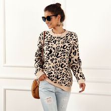 2019 New Autumn Winter Fashion Women Sweater Loose Knit Leopard Print Long Sleeve Jumper Pullover