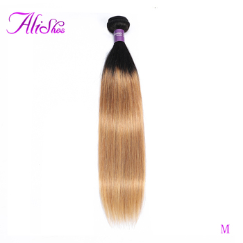 Alishes 1b 27 Ombre Human Hair Bundles Straight Peruvian Hair Bundles 1/3/4 Piece Remy Hair Extensions 10-24 inch Free Shipping image