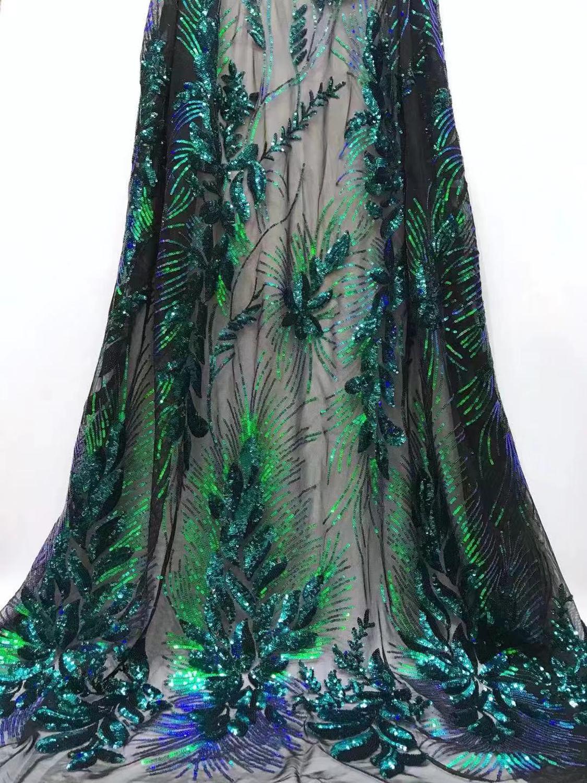 2019 hoge kwaliteit sequentie Franse Nigeriaanse pailletten netto kant, afrikaanse tule mesh volgorde kant stof voor jurk 5 yards/lot YL0820-in Kant van Huis & Tuin op  Groep 1
