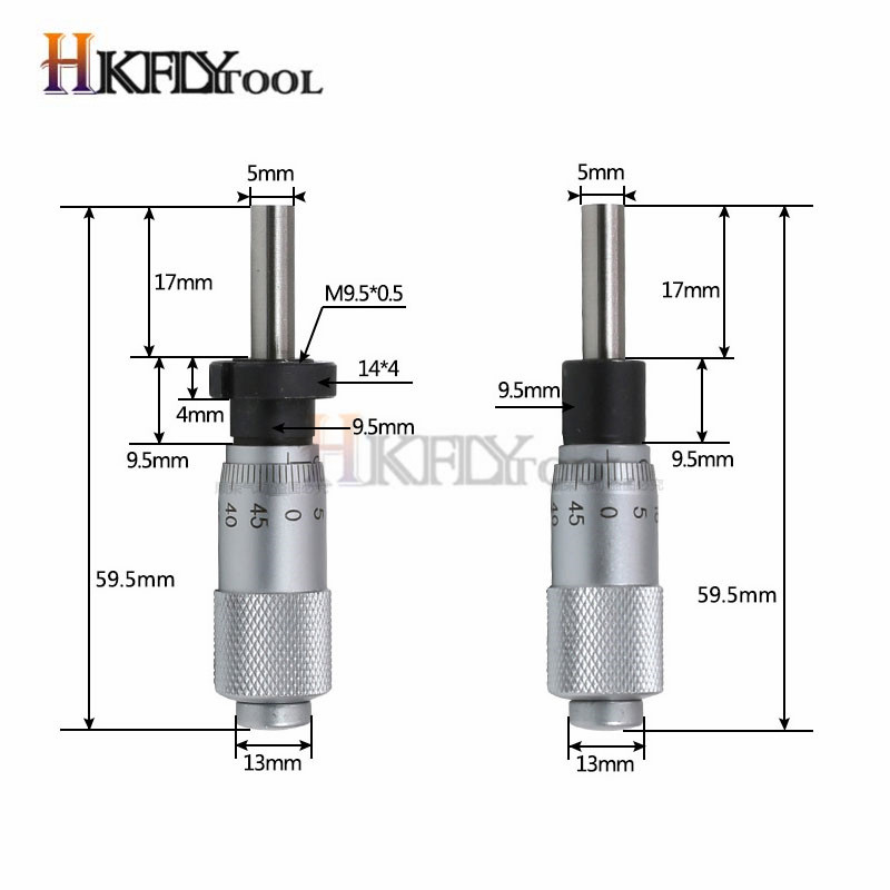 Round Needle Type Thread Micrometer Head Measurement Measure Tool 0-25mm Range