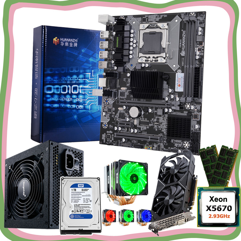 HUANANZHI X58 <font><b>Motherboard</b></font> combo CPU Intel Xeon <font><b>X5670</b></font> 2.93GHz RAM 8G(2*4G) PSU 500W 1TB HDD GPU GTX1050Ti 4GD5 quality PC parts image