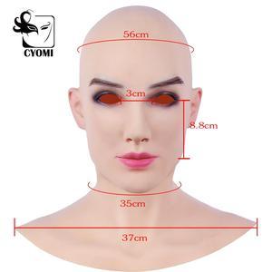 Image 5 - CYOMI Soft Silicone Realistic Female Head Beatrice Ladylike Style Crossdresser Mask Handmade Makeup Transgender Mask 4G