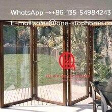 Складная алюминиевая дверь перегородка, двойной/из тройного стекла дверь из закаленного стекла