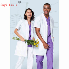 White coat short-sleeved doctors overalls men and women in summer long style clothing beauty salon laboratory uniform