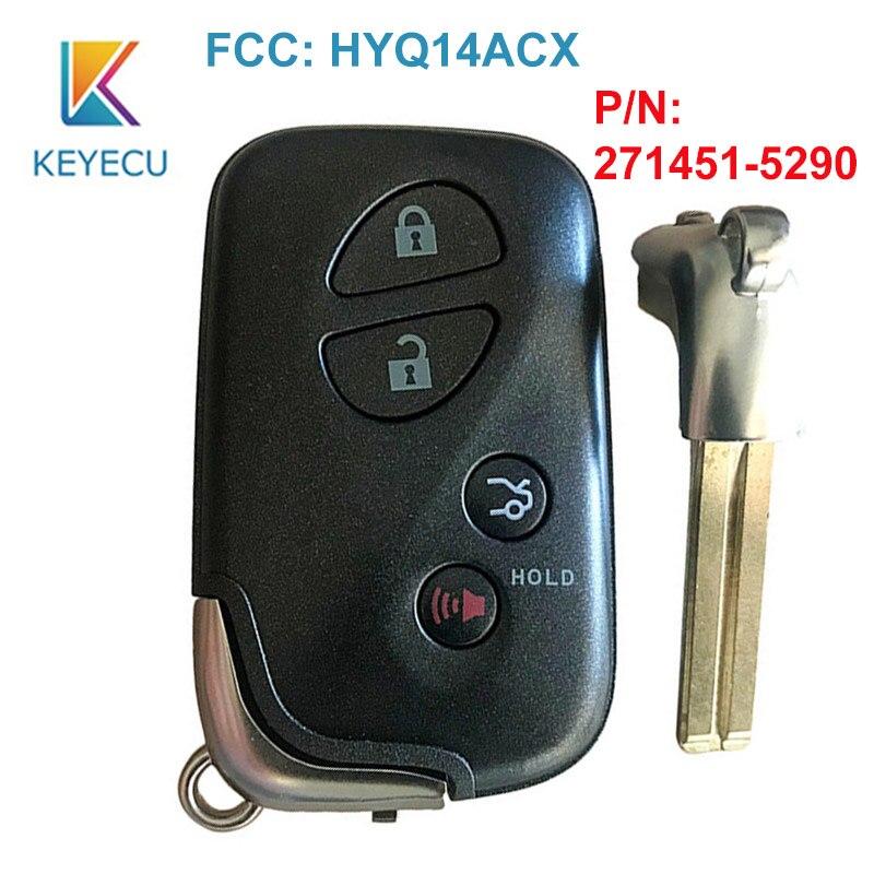 KEYECU 4 ปุ่ม FSK 314.3MHz ID74 คีย์ระยะไกลสำหรับ Lexus GX460 LS600H LS460 RX350 RX450H 2010 2012 2013 + HYQ14ACX 271451-5290