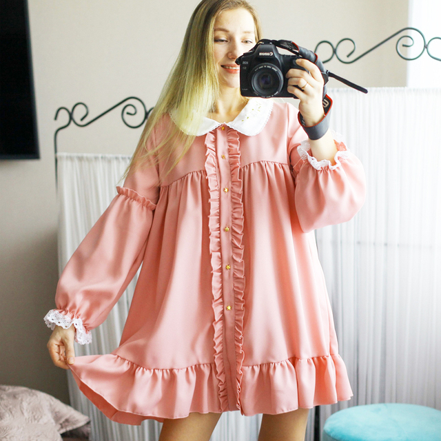 MAGOGO Doll Ruffles Lolita Dress Women New  Peter Pan Collar Pink Cute Sweet Dress Soft Sisters Costume Dress 5