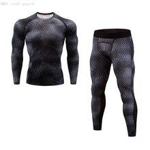 2-Piece-Set Rash-Guard Leggings Gym-Clothing Compression-Shirt Top-Sports MMA Running