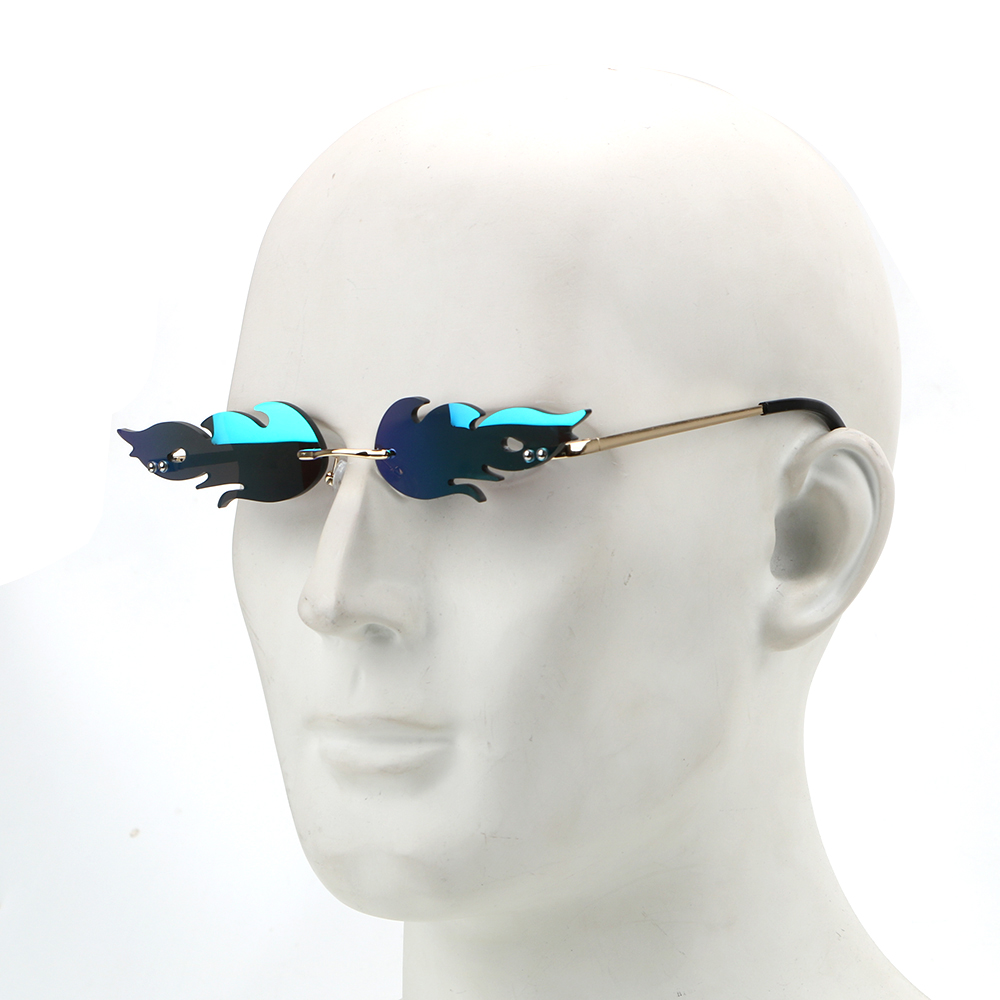 LEEPEE Fire Flame Sunglasses Car Driving Glasses Trending Narrow UV 400 Eyewear Fashion Rimless Wave Sunglasses  Streetwear