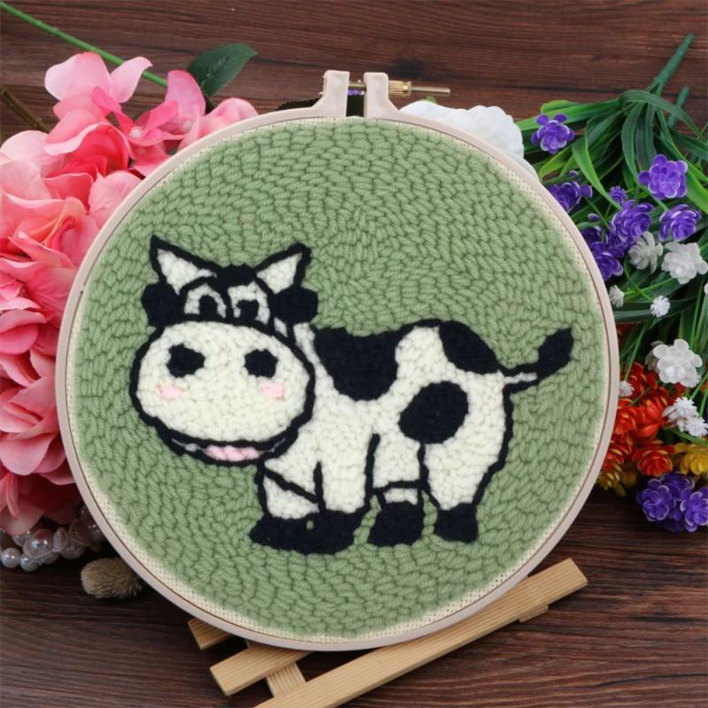 Cute DIY Ribbon Animal Bandmade Embroidery Kit For Children Needlework Kits Cross Stitch Arts Crafts Sewing Decor 15*15cm H