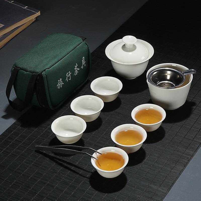 11pcs Set Chinese Travel Kung Fu Tea Set Ceramic Portable Teacup Porcelain Service Gaiwan Tea Cups Mug Of Tea Ceremony Teapot