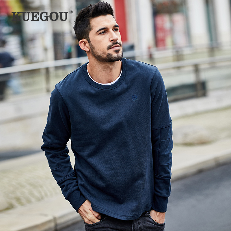KUEGOU 2020 Spring 100% Cotton Embroidery Black Plain Sweatshirt Men Fashion Japanese Streetwear Hip Hop Male Brand Clothes 2273