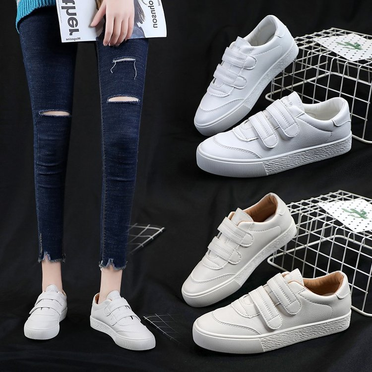 Velcro Shoes White Women's 2020 Spring And Autumn Breathable Sneakers Anti-slip Foreign Trade WOMEN'S Shoes