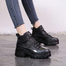 Зимние кроссовки черного и бежевого цвета; женская повседневная обувь; кроссовки на толстой платформе для девочек; модная теплая обувь на застежке-липучке