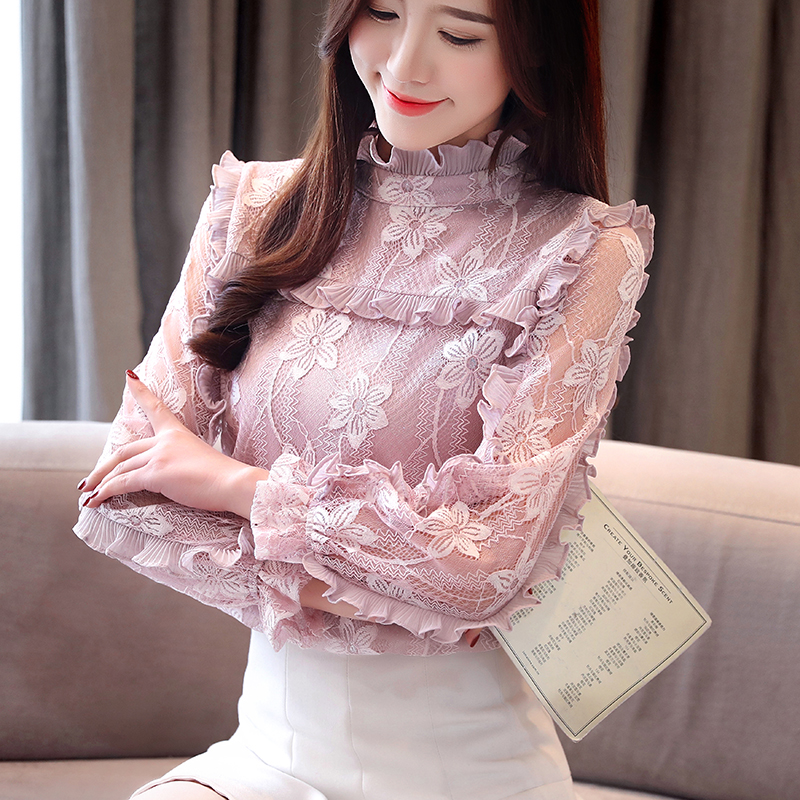 Women Clothing Floral Hollow Out Spring Lace Shirt Tops See Through Basic Female Elegant Long-sleeve Lace Blouses Shirts 50G5