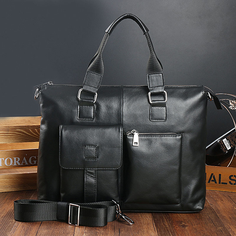 GUMST New Men Briefcases Genuine Leather Leisure Mens Business Bag 14 Inch Computer Laptop Bags Office Bags For Men Black