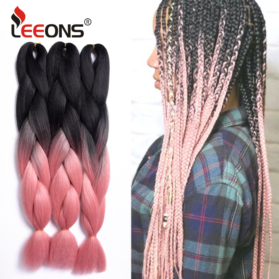 Leeons 105 Colors Top Selling Long Jumbo Braiding Hair Ombre Blue Pink Grey Blonde Red Jumbo Crochet Braiding Extension Hair