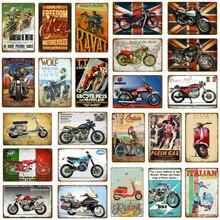 Carteles de Metal de motocicleta pegatinas de pared ciclos motores placa Vintage Retro Pub Bar garaje decoración del hogar póster italiano YJ138
