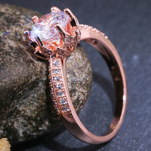 цены Luxury  Rose Gold Color Engagement Rings for Women AAA+ Cubic Zirconia Wedding Bands Jewelry Ladies Gifts Dropshipping