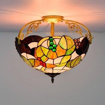40cm American Pastoral Grape Creative Colored Glass Restaurant Bedroom Corridor Corridor Glass Semi-Hanging Ceiling Lamp american pastoral rose three restaurant tiffany pendant lamp
