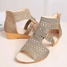 Sandalias Vintage para mujer, Zapatos de verano con estampado sólido, Sandalias planas y de talla grande para mujer, Sandalias bohemias para mujer, Sandalias, Zapatos 2020
