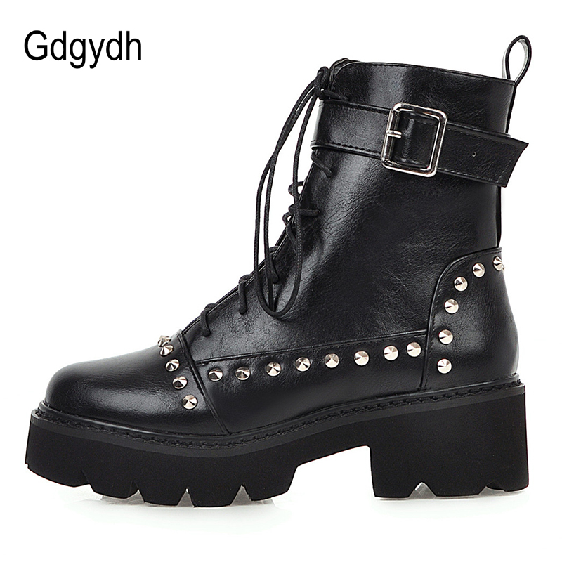 Gdgydh Sexy Rivet Military Boots Women Lace Up Black Leather Ankle Boots Mid Heel Goth Style Short Boots for Autumn High Quality 2