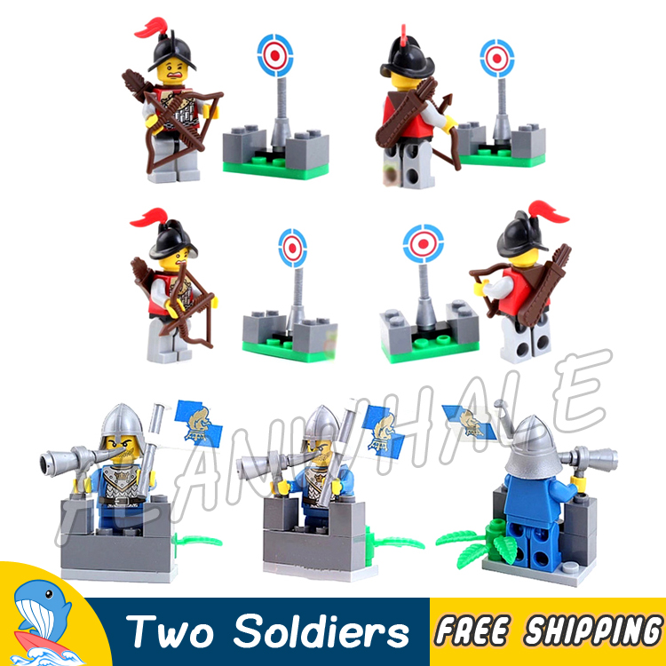 2pcs/set New Medieval Lion Castle Knights Kingdoms 2 Soldiers Figures Figure Building Blocks Toys Compatible With Lago image