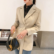 Spring Women Fashion 2019 New None Button Office Lady Suit Casual Slim Jacket Coat with belt