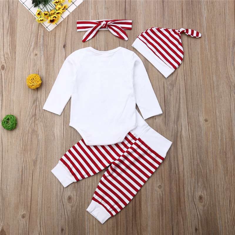 Baby Christmas Outfit Set Boys Girls 0-24 Months,Xmas Santa Letter Romper Stripe Pants Clothing Set