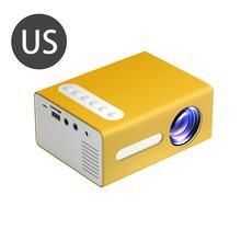 Żółty przenośny projektor T300 wydajny projektor LED o wysokiej rozdzielczości wielozakresowy rzutnik kina domowego