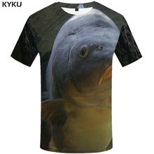 KYKU Dolphin T shirt Men Ocean Funny T shirts Lovely T-shirts 3d Funny Anime Clothes Harajuku Tshirts Casual Mens Clothing(China)