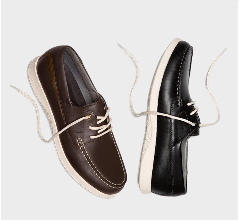 جديد QIMIAN الرجال الدانتيل متابعة حذاء كاجوال ستة حفرة التعادل مرونة تسولي الأولى طبقة جلد البقر خفيفة الوزن عدم الانزلاق أحذية قيادة-في أغطية الحذاء من المنزل والحديقة على  مجموعة 1