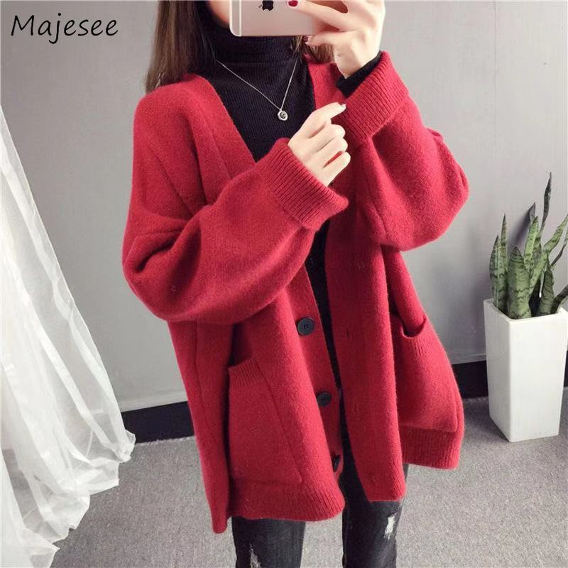 Sweaters Women Large Size Loose Ladies Students Button Cardigans V-neck Leisure Candy Color Solid Sweet Outwear All-match Soft