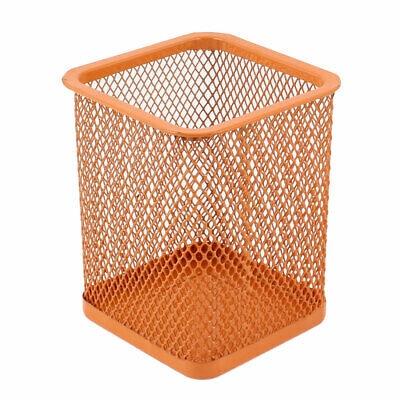 Home Metal Cube Mesh Design Pen Pencil Eraser Pot Holder Container Orange