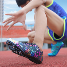 2021 New Arrival Track Shoes Unisex White Blue Professional Spikes Running Shoe Men Top Quality Brand Big Boy Track and Field
