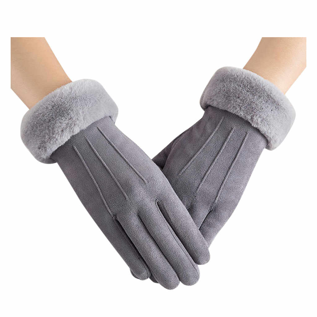 Kadın kış eldiven sıcak tutmak sevimli kürklü sıcak örme tam parmak eldivenler kadın açık spor kadın eldiven