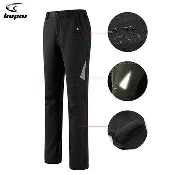 LNGXO Trekking Waterproof Pants Camping Hiking Climbing Skiing Winter Women Outdoor Softshell Reflective Fleece Trousers