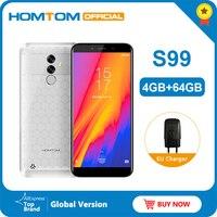Оригинальный HOMTOM S99 5,5 дюймовый Android 8,0 4GB 64GB смартфон 6200 мАч 21 + 2 Мп двойная задняя камера, определение отпечатка пальца FDD-4G мобильного телефо...