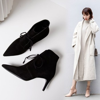 Woman Boots Fine With Genuine Leather Woman Short Boots Concise Chalaza Temperament Boot