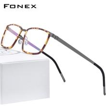FONEX Acetate Hợp Kim Mắt Gọng Kính Cận Nam Vuông Cận Thị Quang Đơn Thuốc Kính Mắt Khung Hình 2020 Screwless Kính Mắt 98629
