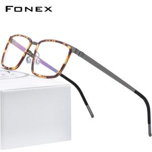 Image 1 - FONEX lunettes pour hommes, en alliage dacétate, monture de Prescription optique, pour myopie carrée, 2020 lunettes sans vis, 98629