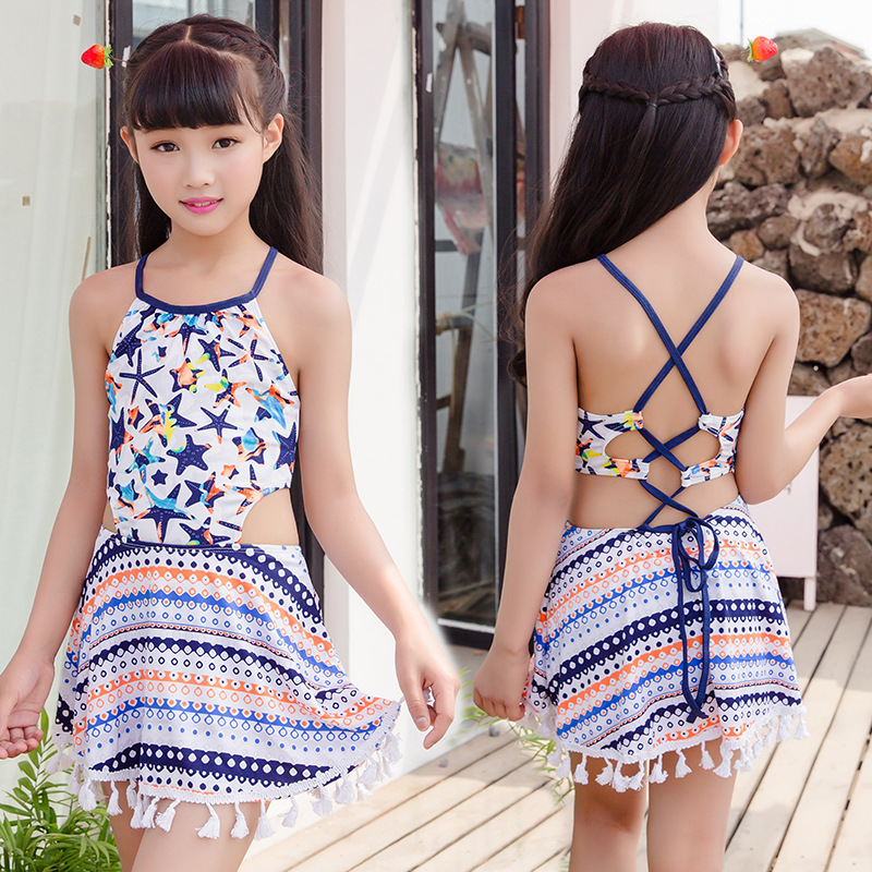 Bathing Suit One-piece GIRL'S Cute Skirt 5-9-Year-Old Princess Big Boy Beach Swimwear Nt493117