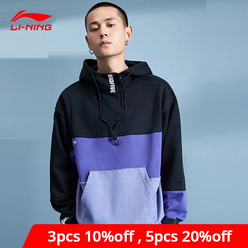 Li-Ning Men BAD FIVE Basketball Series Sweater Hoodie 100% Cotton Loose Fit LiNing li ning Sport Sweaters AWDP353 MWW1614