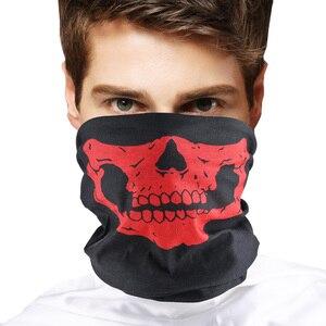 Image 4 - Фестивальные маски с черепом для мотоцикла, велосипеда, лыжного черепа, полумаска для лица, полиэстер, шарф призрак, скелет, шея, Теплые воротники, защита на запястье
