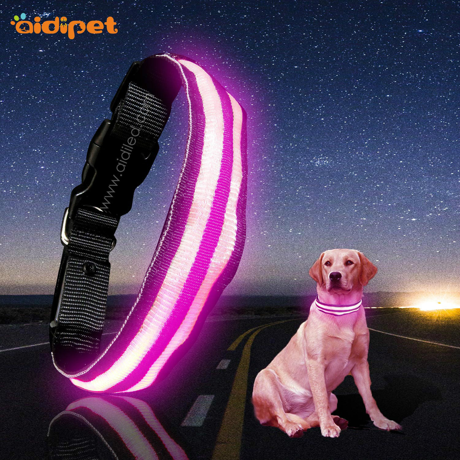Pet Supplies LED Luminous Dog Collar Nylon Translucent Dual Fiber In Large Luminous Collar Dog Neck Ring