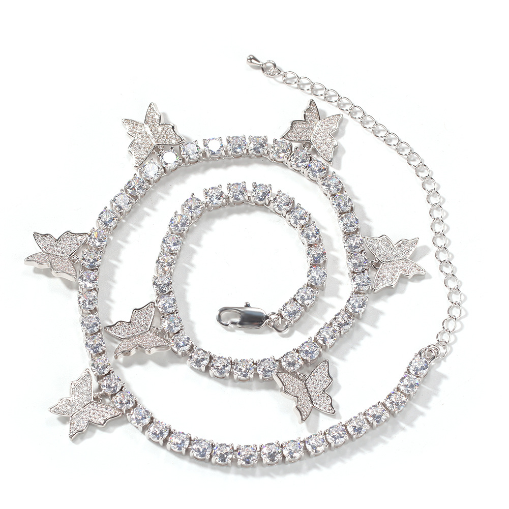Hip Hop Men Fashion Zircon Butterfly Tennis Chain  Crystal Miami Necklace Hip Hop Ice Out Cuban For Men