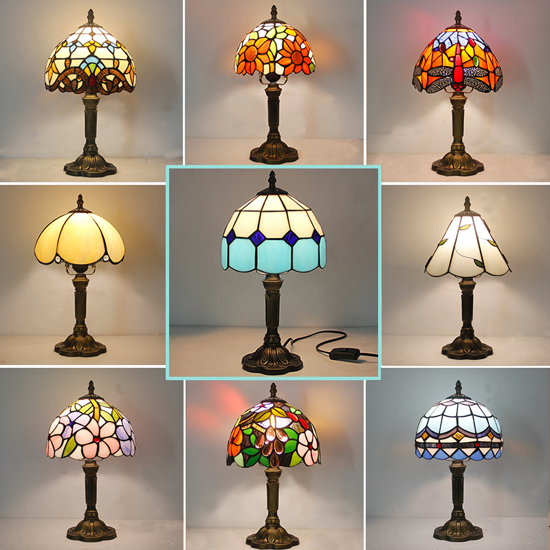 Tiffany Creative European Mediterranean Bedroom Bedside Lamp Colored Glass Lampshade Table Lamp Hotel Restaurant Bar Table Lamp